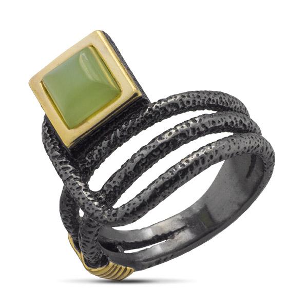 Купить Серебряное кольцо с нефритом и позолотой 71801034n, Нефрит