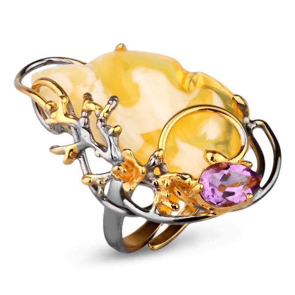 Купить Кольцо из серебра с позолотой с янтарем 720022aw, Янтарь