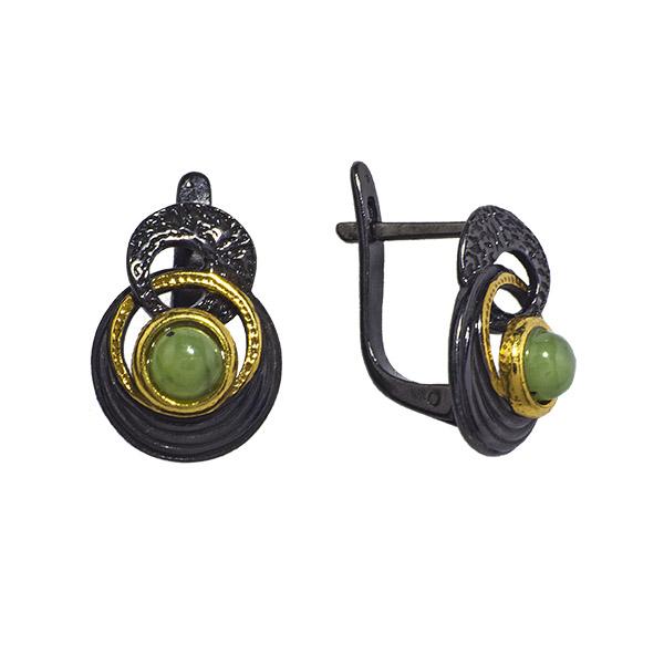 Купить Серебряные серьги с нефритом и позолотой 72801075n, Нефрит
