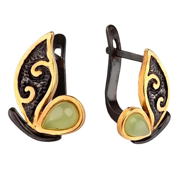 Купить Серебряные с позолотой серьги с нефритом 72801094n, Нефрит
