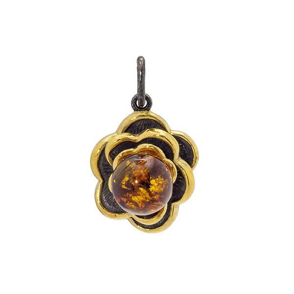 Купить Серебряный кулон с янтарем и позолотой 73161310