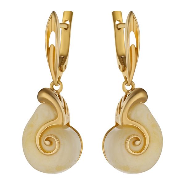 Купить Серебряные серьги с янтарем и позолотой 821247aw, Янтарь