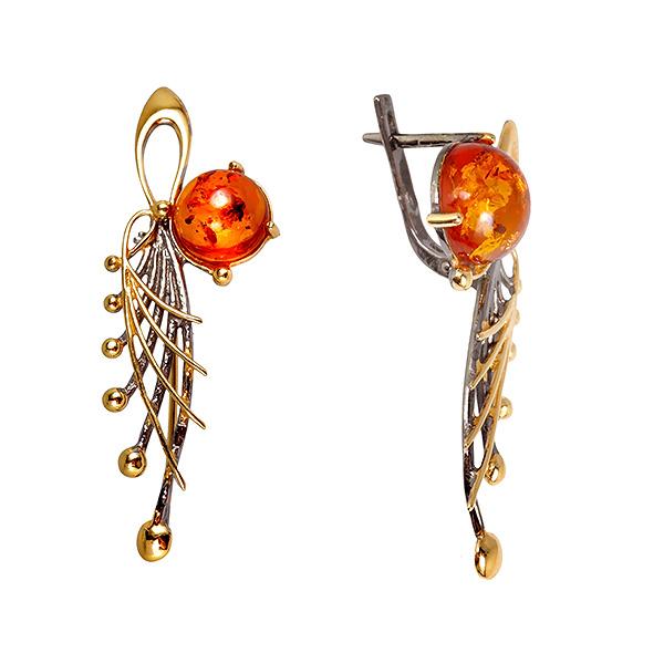 Купить со скидкой Серебряные с позолотой серьги и янтарем 821265aw