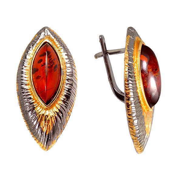 Купить Серебряные серьги с позолотой и янтарем 821900aw, Янтарь