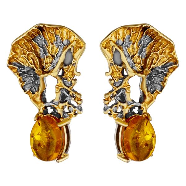 Купить Серебряные серьги с янтарем и позолотой 821902aw, Янтарь