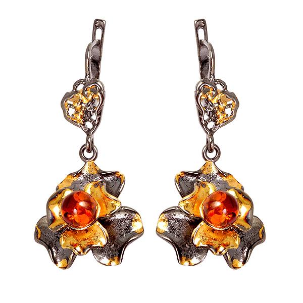 Купить Серебряные серьги с позолотой и янтарем 821904aw, Янтарь
