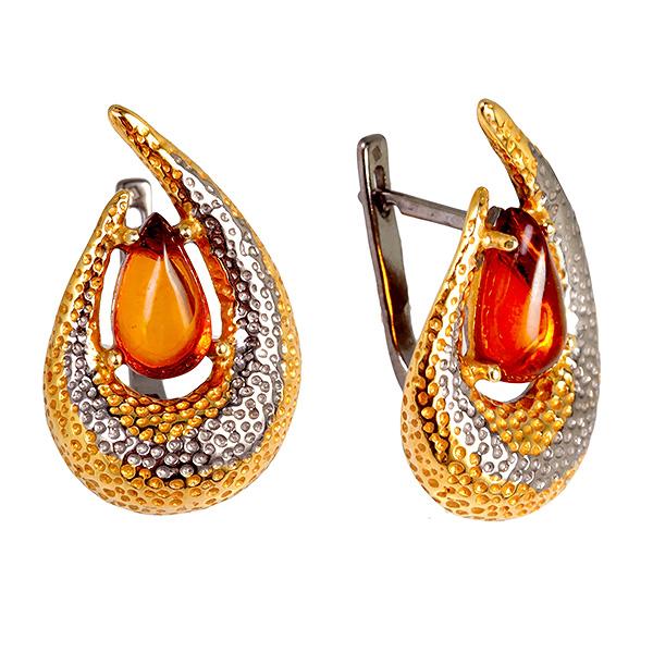 Купить Серебряные серьги с позолотой и янтарем 821905aw, Янтарь