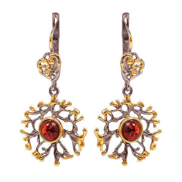 Купить Серебряные серьги с позолотой и янтарем 821912aw, Янтарь