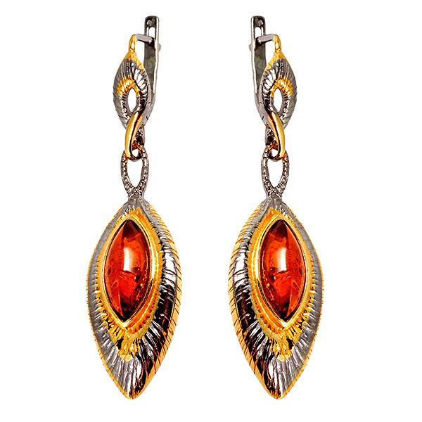 Купить Серебряные серьги с позолотой и янтарем 821915aw, Янтарь