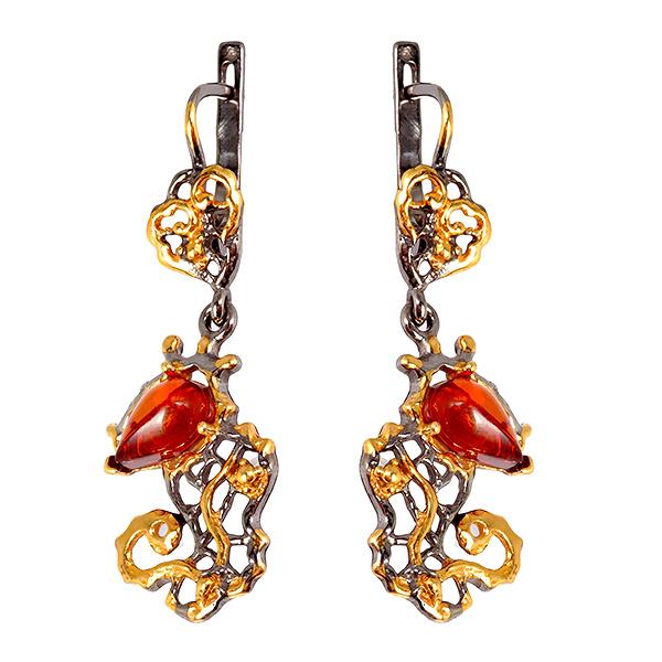 Купить Серебряные серьги с позолотой и янтарем 821916aw, Янтарь