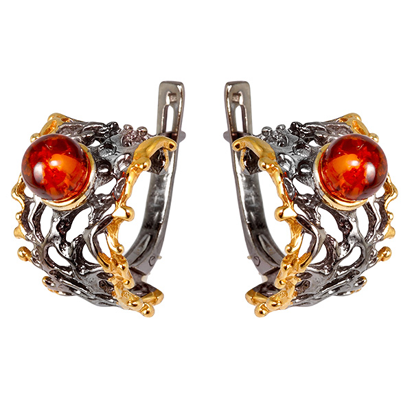Купить Серебряные серьги с позолотой и янтарем 821919aw, Янтарь