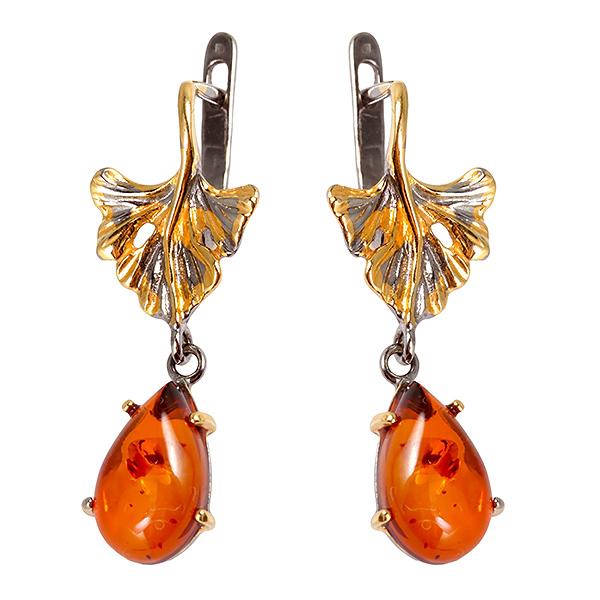 Купить Серебряные серьги с позолотой и янтарем 821927aw, Янтарь