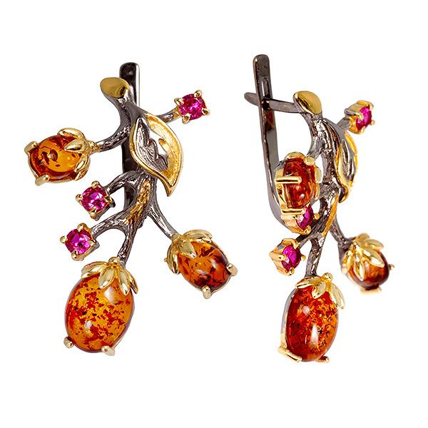 Купить Серебряные серьги с позолотой и янтарем 821929aw, Янтарь
