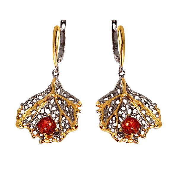 Купить Серебряные серьги с позолотой и янтарем 821932aw, Янтарь