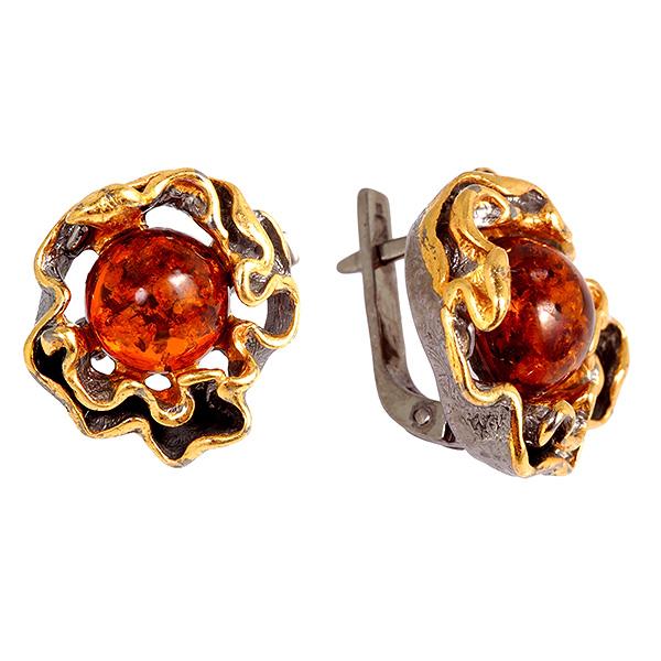 Купить Серебряные серьги с позолотой и янтарем 821936aw, Янтарь