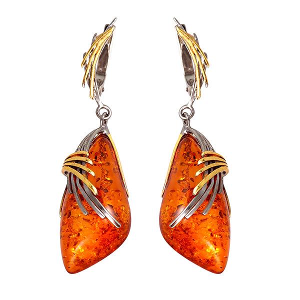 Купить Серебряные серьги с позолотой и янтарем 821938aw, Янтарь