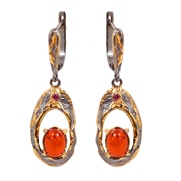 Серебряные серьги с позолотой и янтарем 821947aw, Янтарь  - купить со скидкой