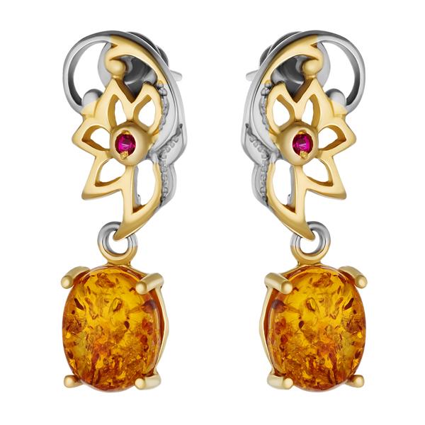 Купить Серебряные серьги с янтарем и позолотой 821960aw, Янтарь