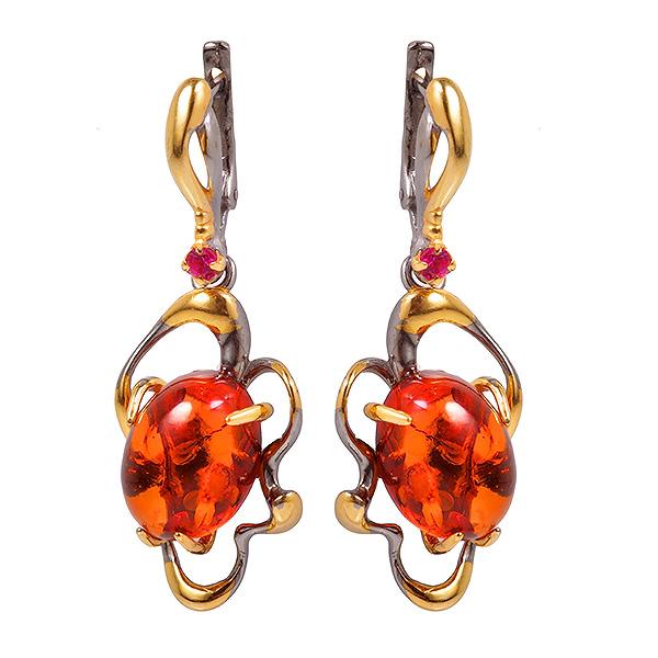 Купить Серебряные серьги с позолотой и янтарем 821965aw, Янтарь