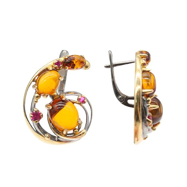 Купить Серебряные серьги с позолотой и янтарем 821966aw, Янтарь