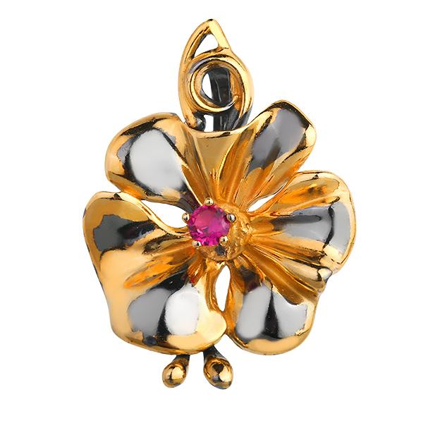 Купить Серебряный кулон с позолотой и фианитом 823920aw, Янтарь