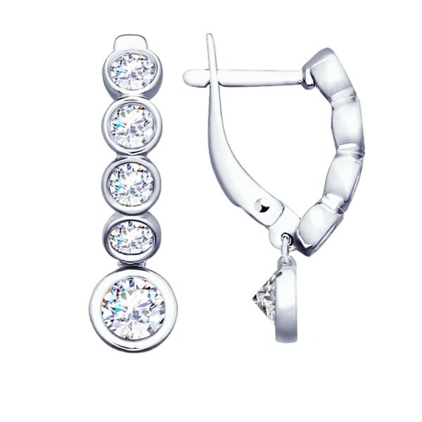 Купить Серебряные серьги с фианитом 94022726, SOKOLOV