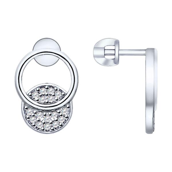 Купить Серебряные серьги с фианитом 94022747, SOKOLOV