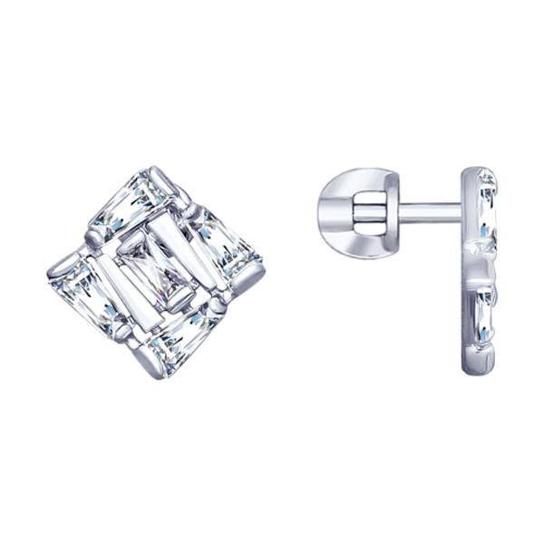 Купить Серебряные серьги с фианитами 94022990, SOKOLOV