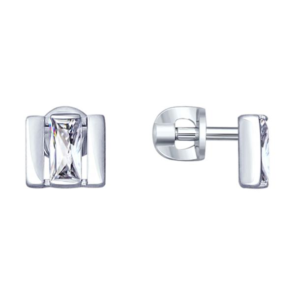 Купить Серебряные серьги SOKOLOV с фианитом 94022994