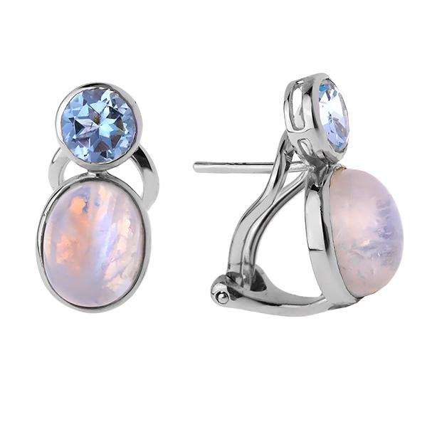 Купить Серебряные серьги Sandara с лунным камнем и топазом ADE135