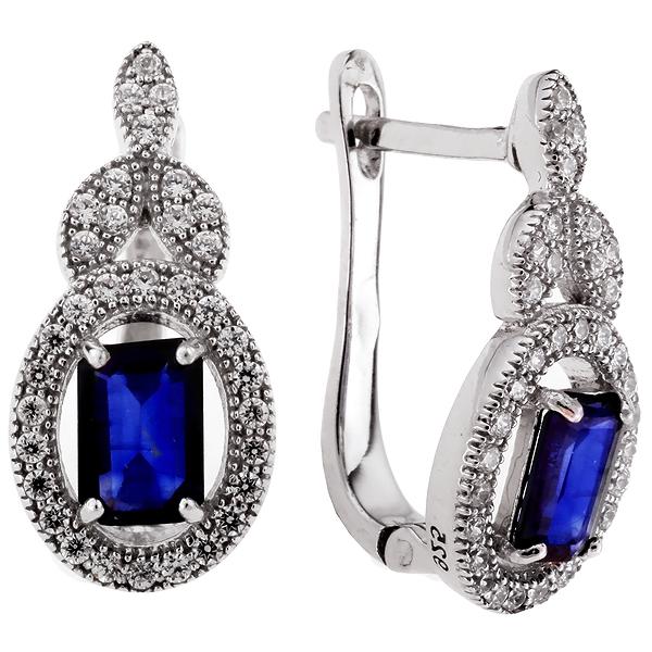 Купить Серебряные серьги Sandara с сапфирами и фианитами ANE1843, Sandara сапфиры