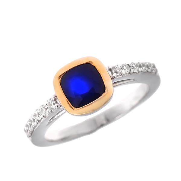 Купить Серебряное кольцо Sandara с сапфиром, фианитами и позолотой ANR2115, Sandara сапфиры