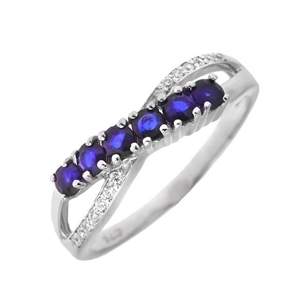 Купить Серебряное кольцо Sandara с сапфиром и фианитами ANR2424, Sandara сапфиры