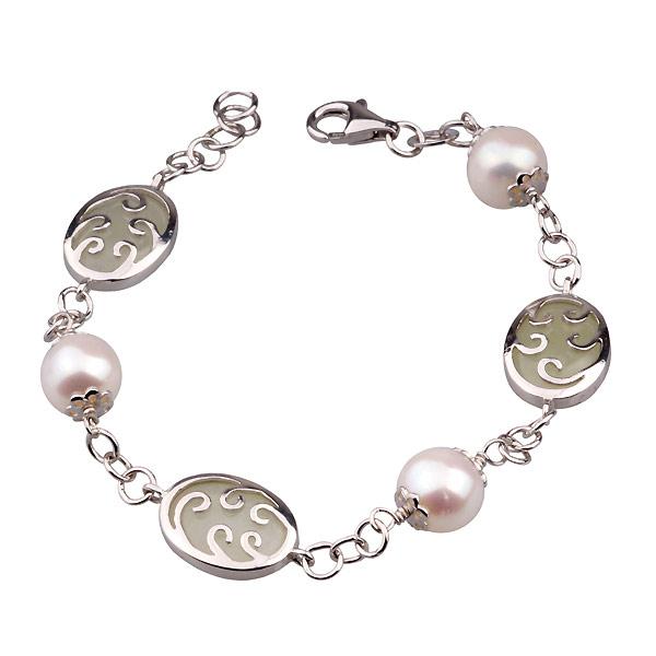 Серебряные женские браслеты с жемчугом