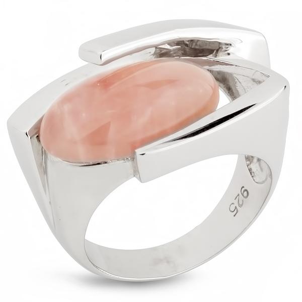 Купить Серебряное кольцо AS с розовым кварцем ASR0984