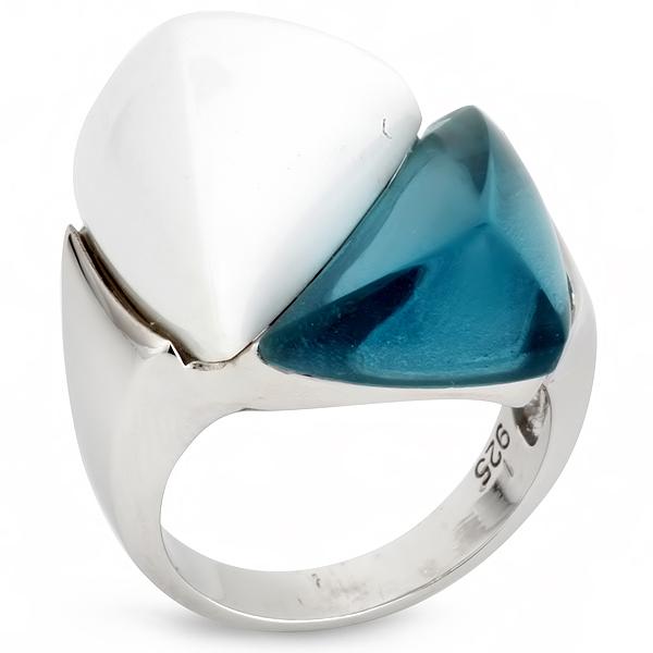 Купить Серебряное кольцо AS c топазом и белым агатом ASR1024