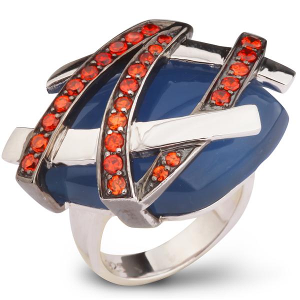 Купить Серебряное кольцо AS с голубым агатом и фианитами ASR1076