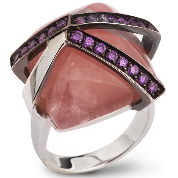 Купить Серебряное кольцо AS с розовым кварцем и фианитами ASR1106