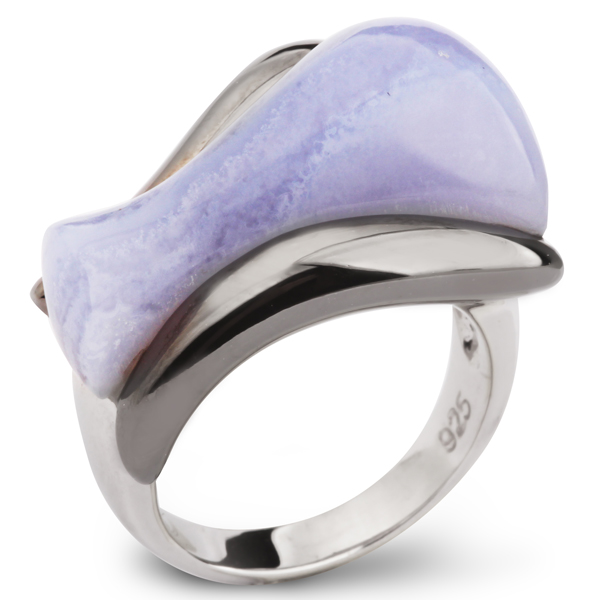 Купить Серебряное кольцо AS с голубым агатом ASR1111