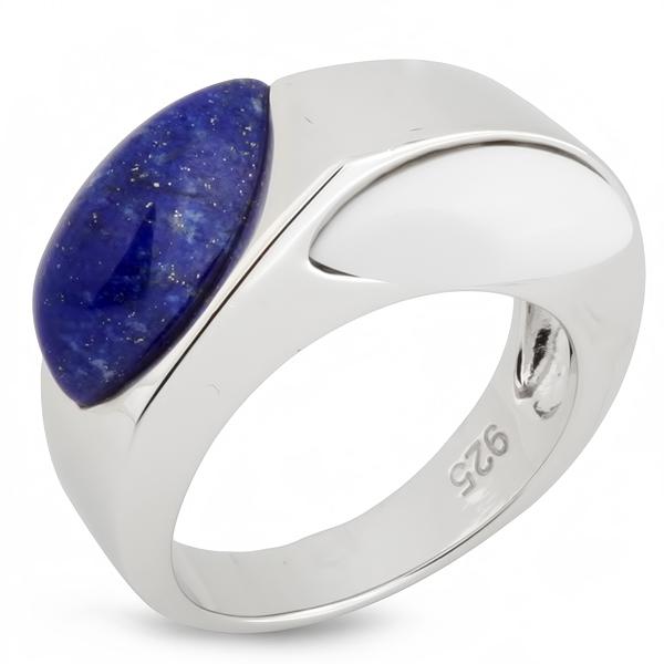 Купить Серебряное кольцо AS лазуритом и белым агатом ASR1121