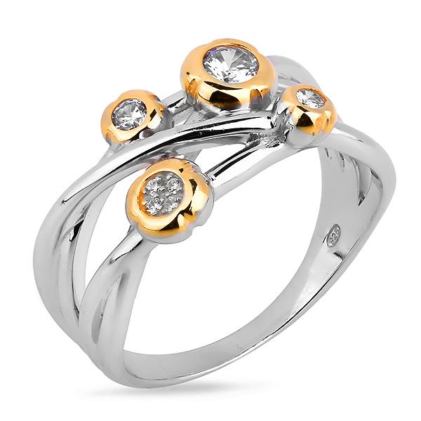 Купить Серебряное кольцо Sandara Ice с фианитом и позолотой DJR021