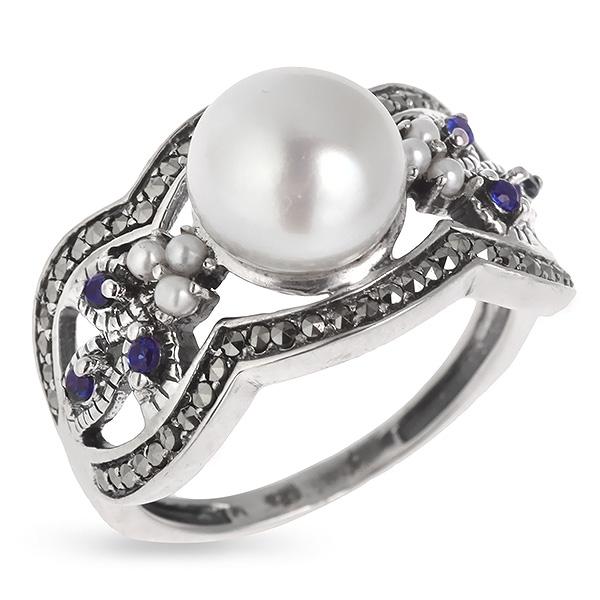 Купить Серебряное кольцо Винтаж с сапфиром, жемчугом, микрожемчугом и марказитами ECRA01268