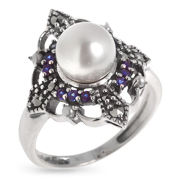 Купить Серебряное кольцо Винтаж с сапфиром, жемчугом, микрожемчугом и марказитами ECRA01269