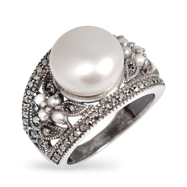 Купить Серебряное кольцо Винтаж с жемчугом, микрожемчугом и марказитами ECRA01444M