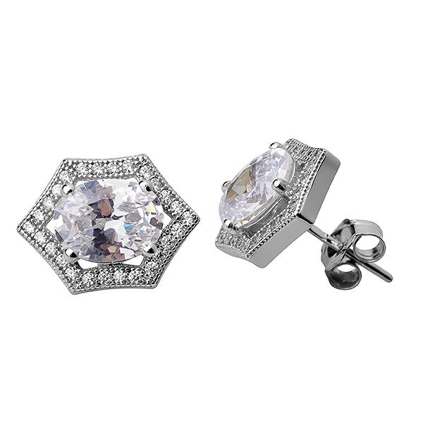 Купить Серебряные серьги Sandara Ice с фианитом IME9305