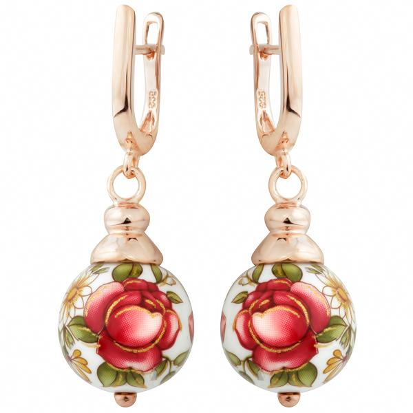 Купить Серебряные серьги с акрилом JSE0138, Японские цветы