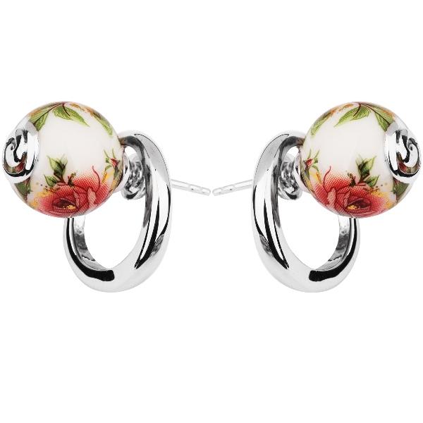 Купить Серебряные серьги с акрилом JSE0524, Японские цветы