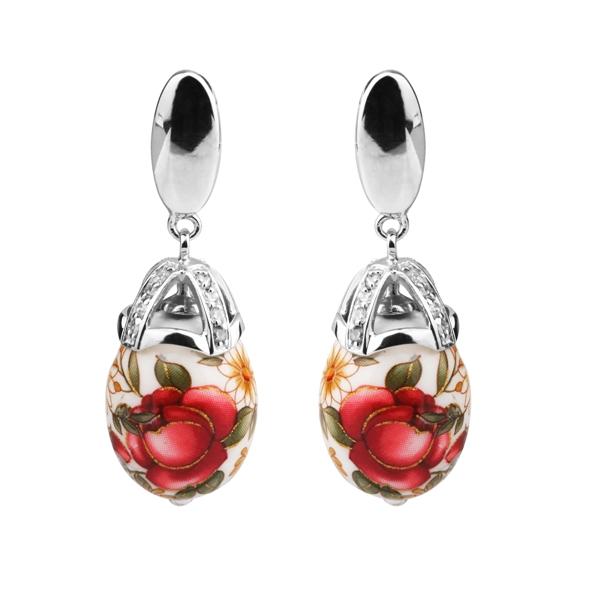 Купить Серебряные серьги с акрилом и фианитами JSE0583, Японские цветы