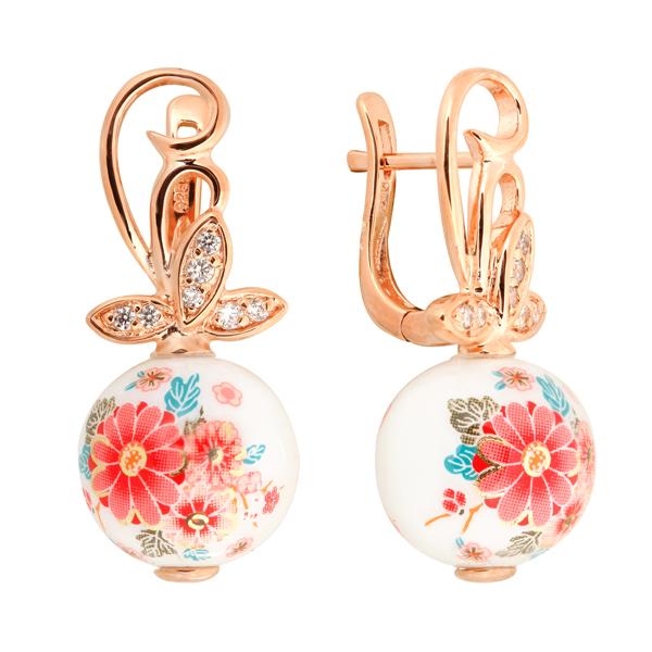 Купить Серебряные серьги с акрилом и фианитами JSE1307-1, Японские цветы