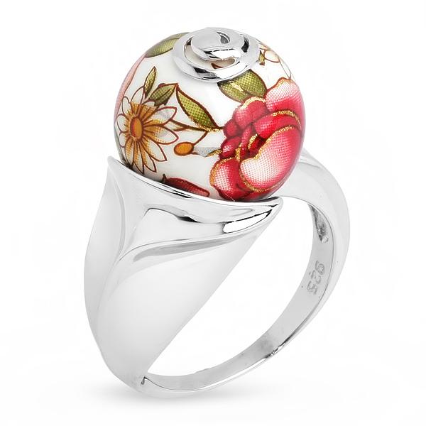Купить Серебряное кольцо с акрилом JSR0228-1, Японские цветы